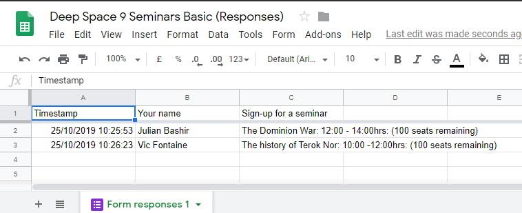 Google Sheets Form Data