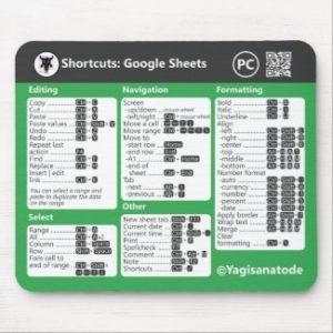 Google Sheets Shortcuts Mousepad